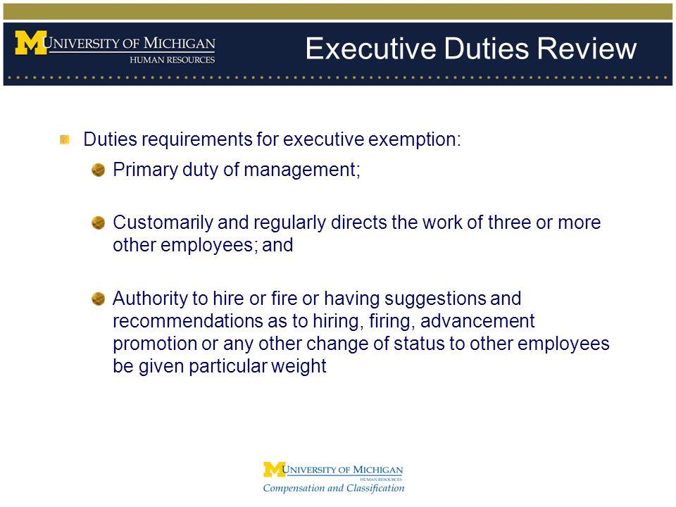 Executive Duties Review