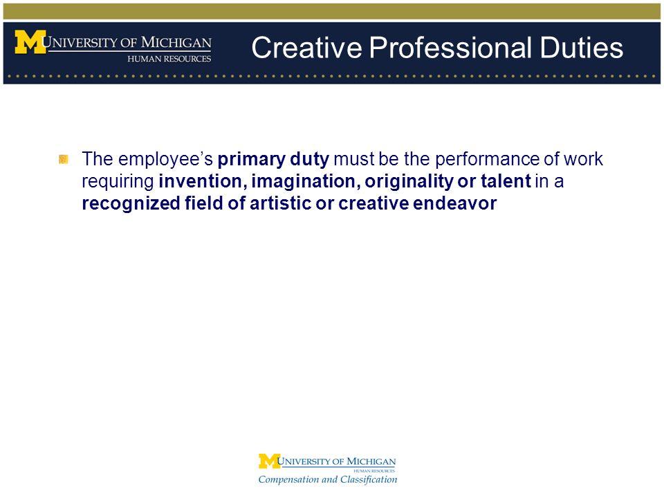Creative Professional Duties