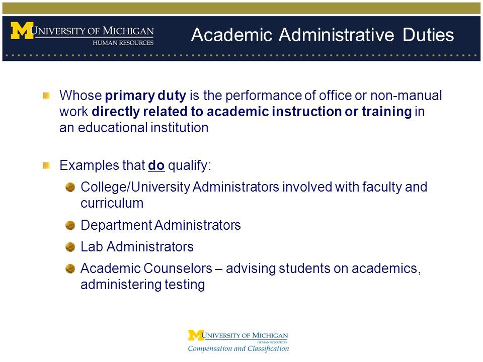 Academic Administrative Duties