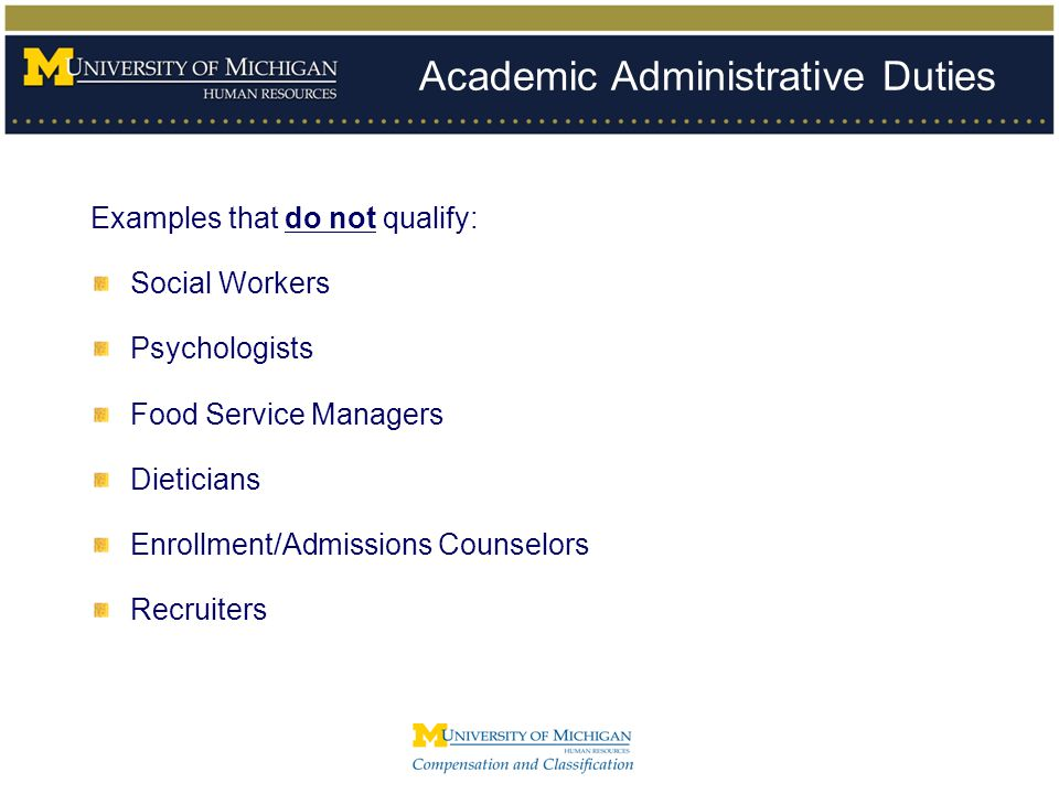 Academic Administrative Duties