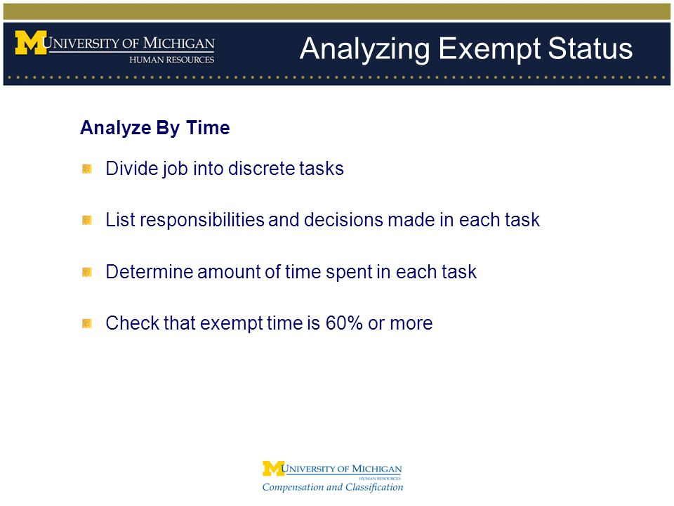 Analyzing Exempt Status