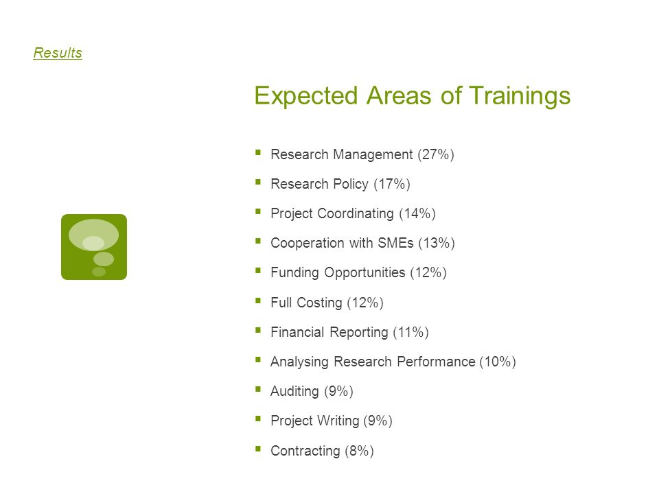 Expected Areas of Trainings