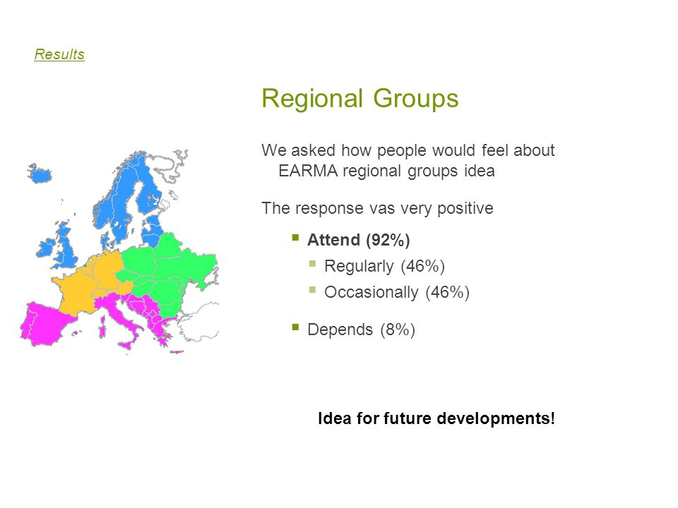 Results Regional Groups. We asked how people would feel about EARMA regional groups idea. The response vas very positive.