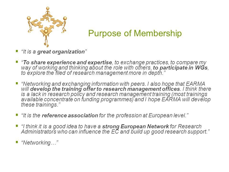 Purpose of Membership It is a great organization