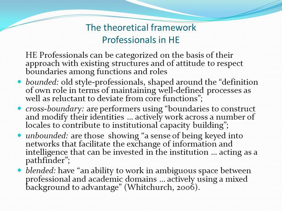 The theoretical framework Professionals in HE