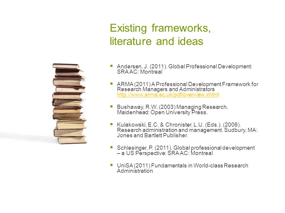 Existing frameworks, literature and ideas