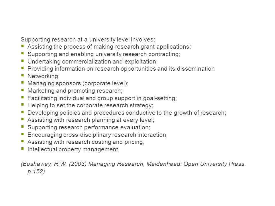 Supporting research at a university level involves: