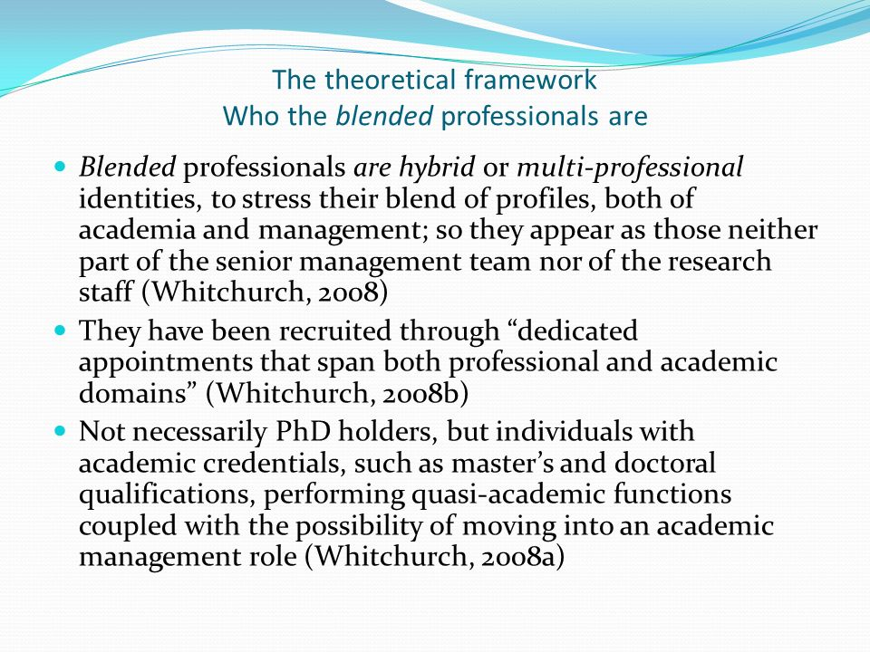 The theoretical framework Who the blended professionals are