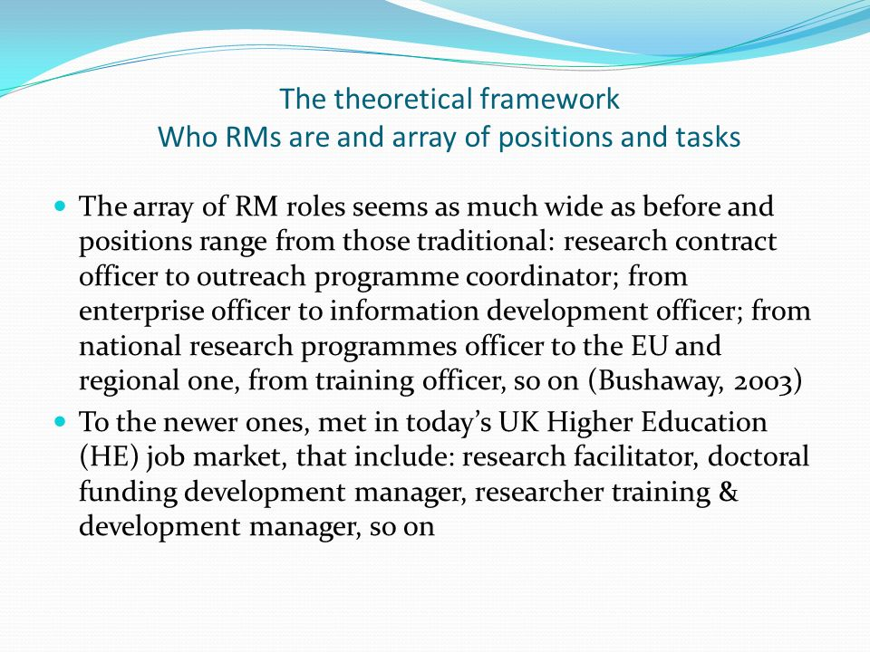 The theoretical framework Who RMs are and array of positions and tasks