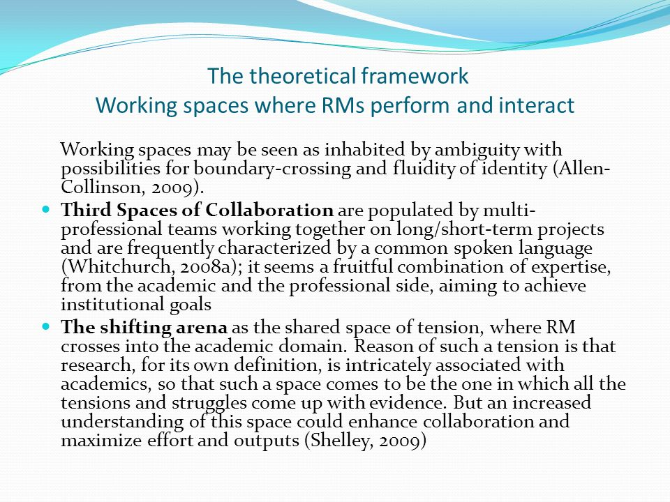 The theoretical framework Working spaces where RMs perform and interact