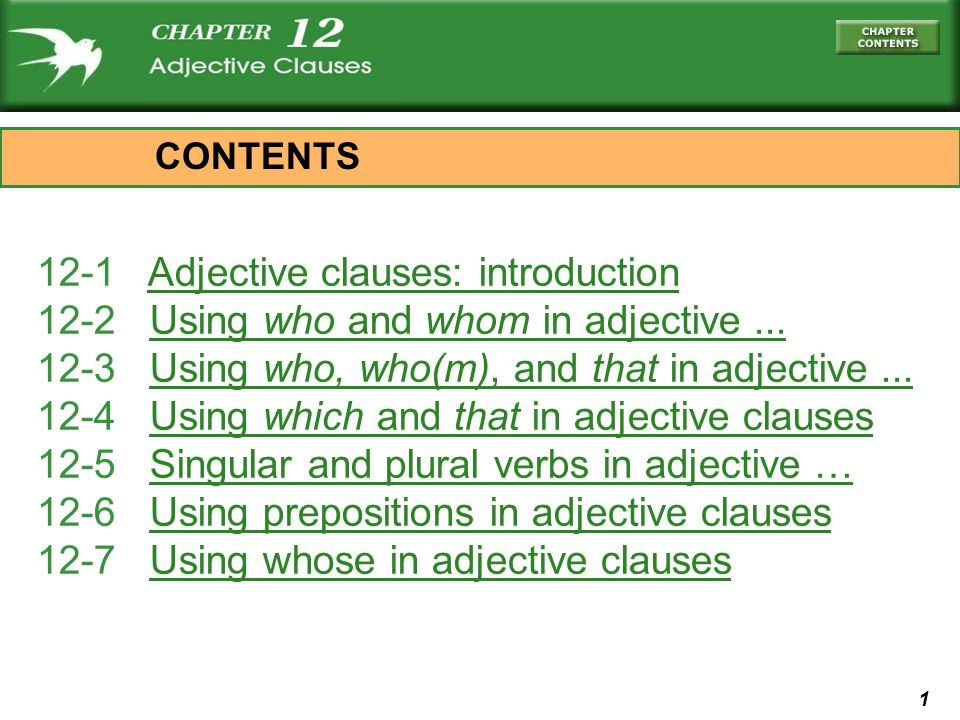 12-1 Adjective clauses: introduction