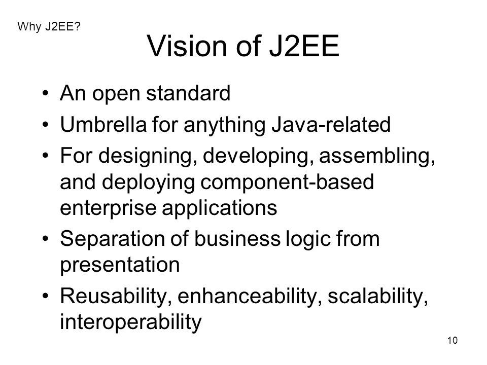 Vision of J2EE An open standard Umbrella for anything Java-related