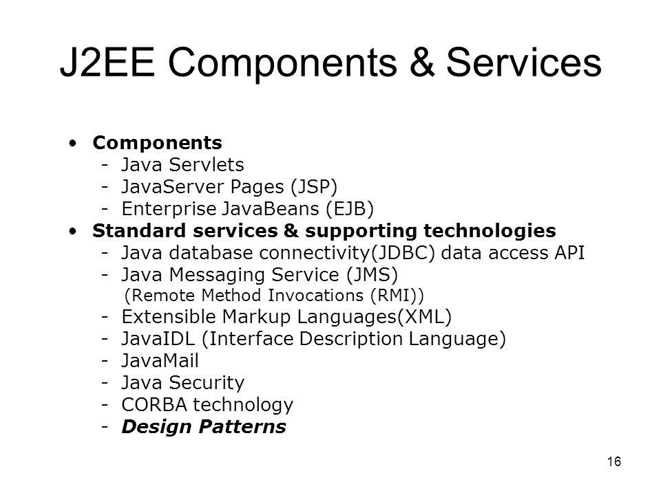 J2EE Components & Services