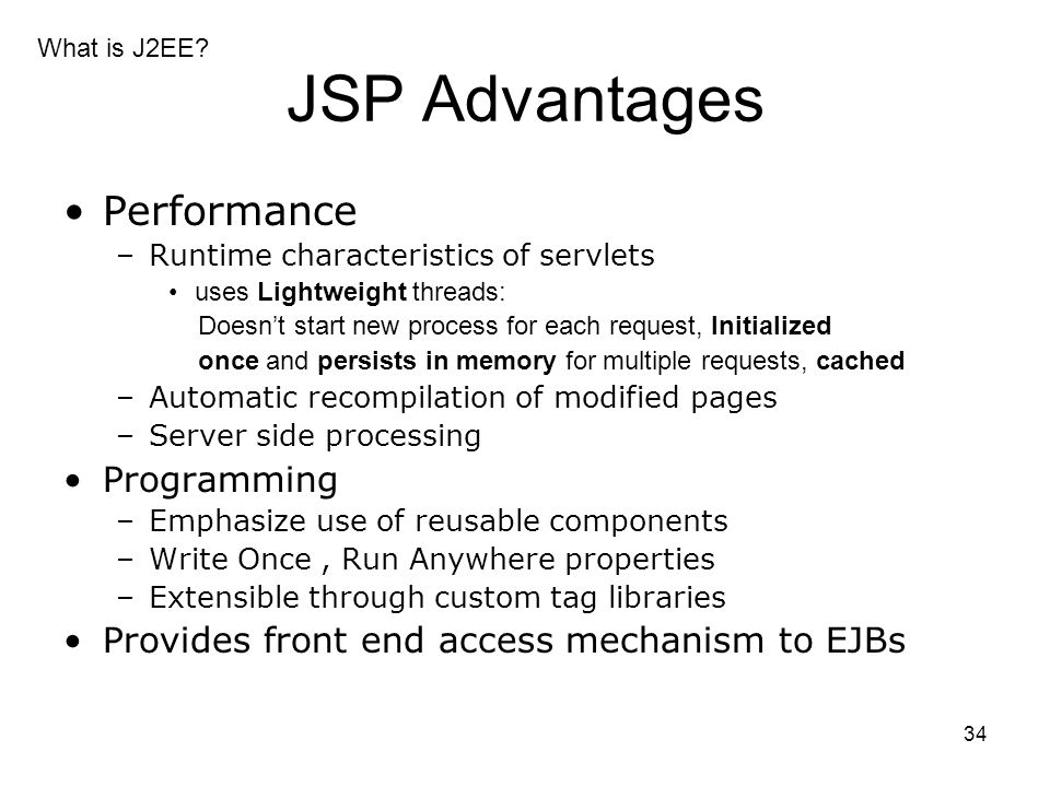 JSP Advantages Performance Programming