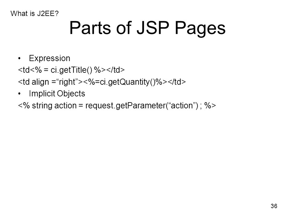 Parts of JSP Pages Expression
