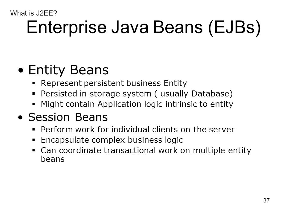 Enterprise Java Beans (EJBs)