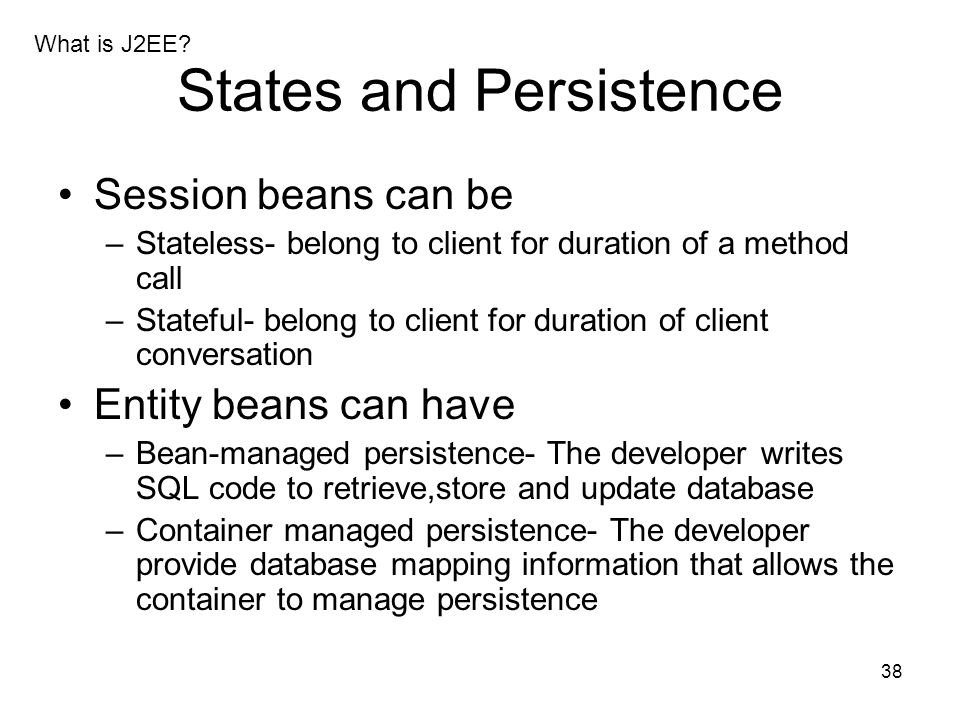 States and Persistence