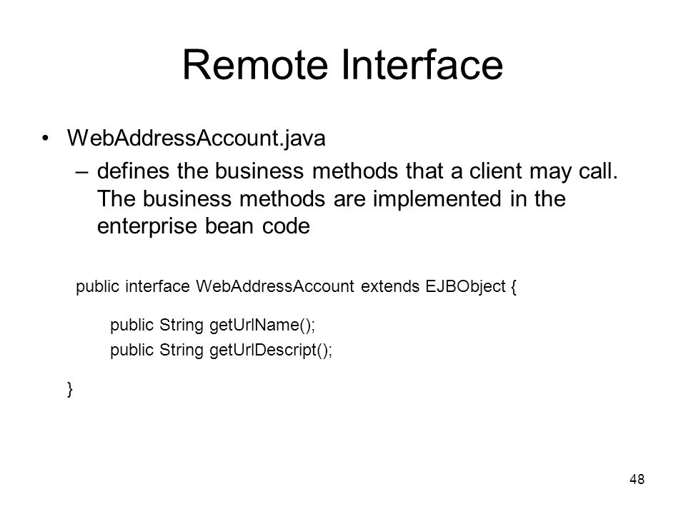 Remote Interface WebAddressAccount.java