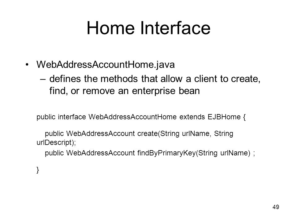 Home Interface WebAddressAccountHome.java
