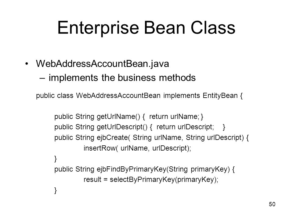 Enterprise Bean Class WebAddressAccountBean.java