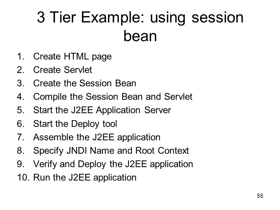 3 Tier Example: using session bean