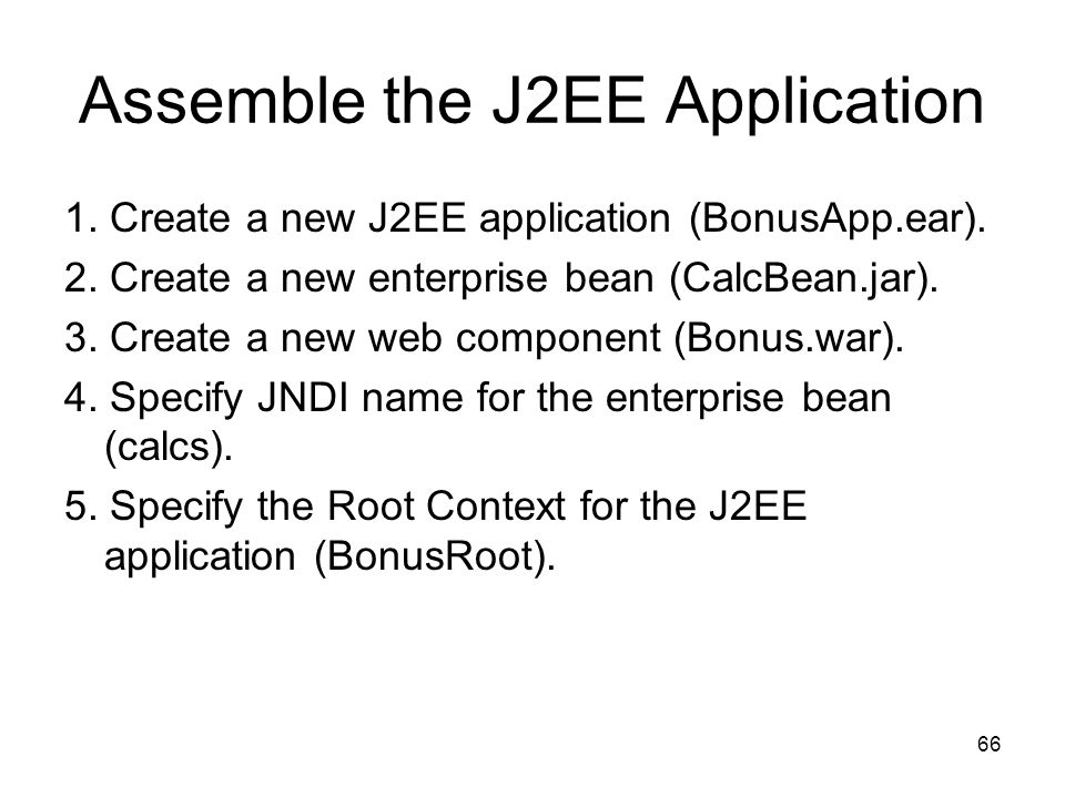 Assemble the J2EE Application