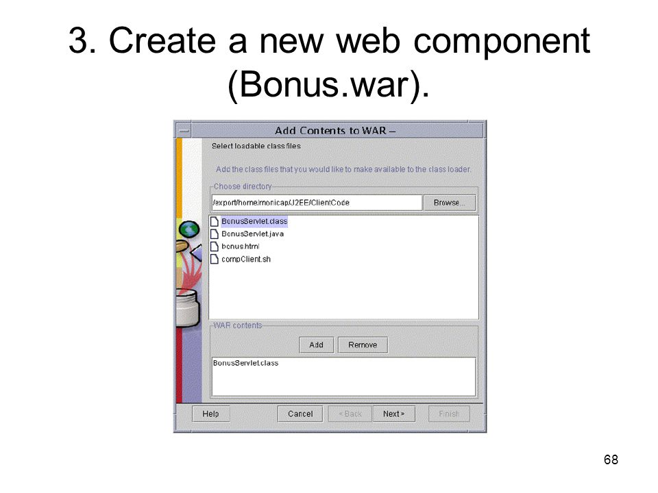 3. Create a new web component (Bonus.war).