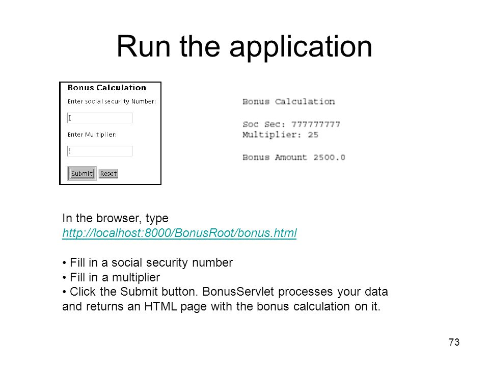 Run the application In the browser, type http://localhost:8000/BonusRoot/bonus.html. Fill in a social security number.