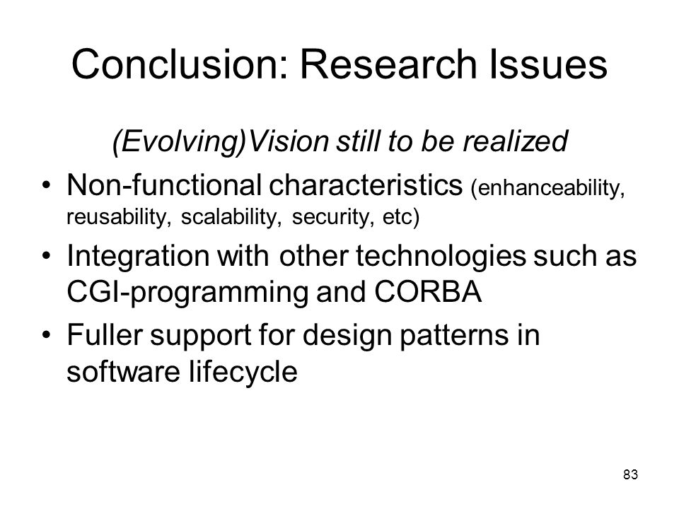 Conclusion: Research Issues
