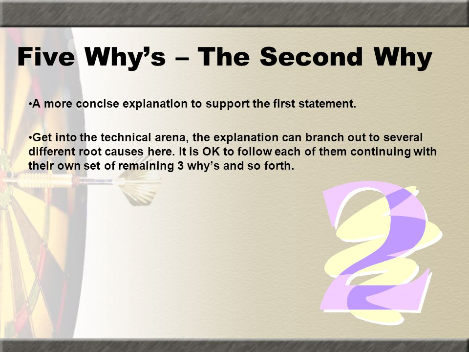 Five Why's – The Second Why