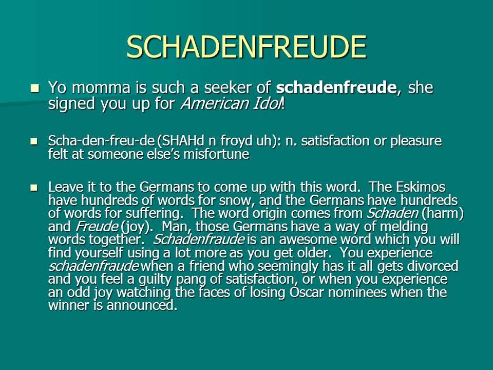 SCHADENFREUDE Yo momma is such a seeker of schadenfreude, she signed you up for American Idol!