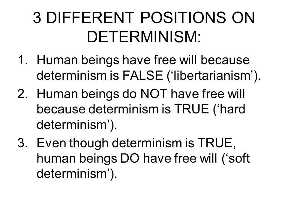 the difference between free will and determinism The question of free will vs determinism has been debated for a long time some people believe humans have the capability to use free will for many theists, free will is a gift from god.