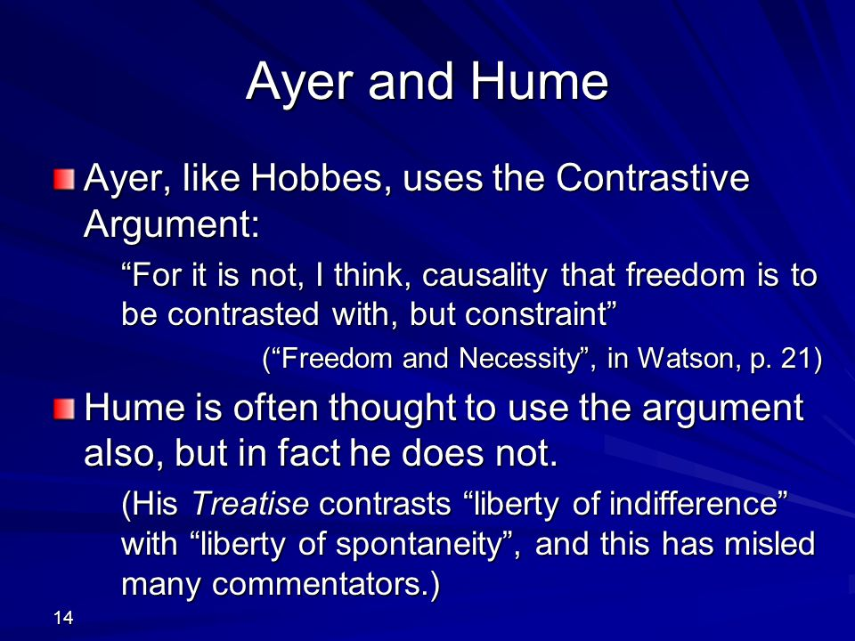 Ayer and Hume Ayer, like Hobbes, uses the Contrastive Argument:
