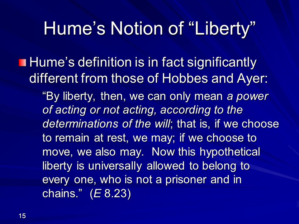 Hume's Notion of Liberty