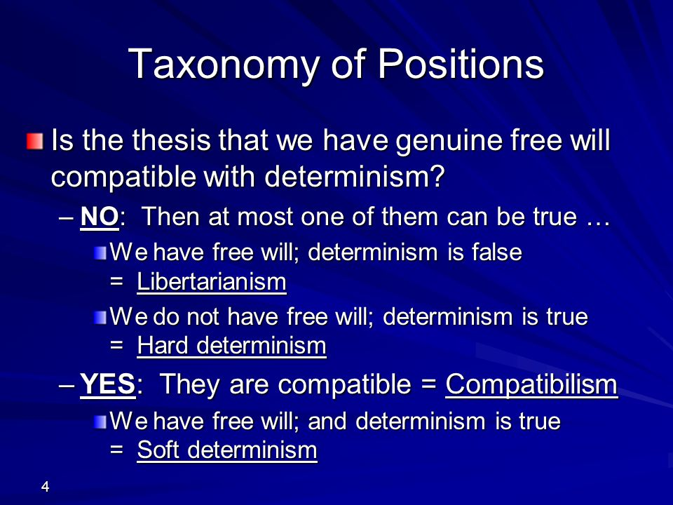 Taxonomy of Positions Is the thesis that we have genuine free will compatible with determinism NO: Then at most one of them can be true …