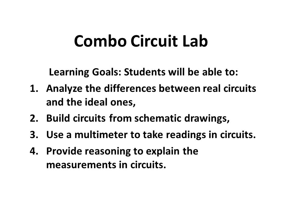 Learning Goals: Students will be able to: