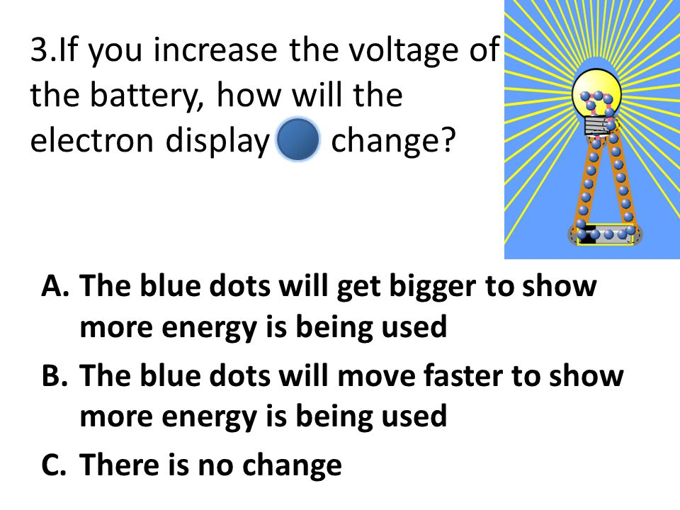 3.If you increase the voltage of the battery, how will the electron display change