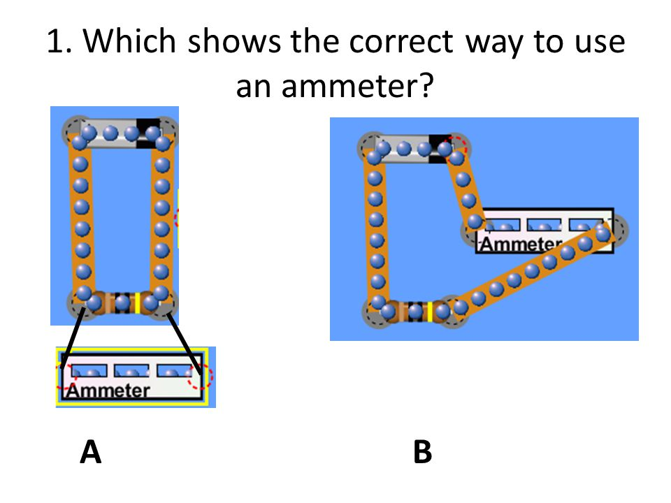 1. Which shows the correct way to use an ammeter
