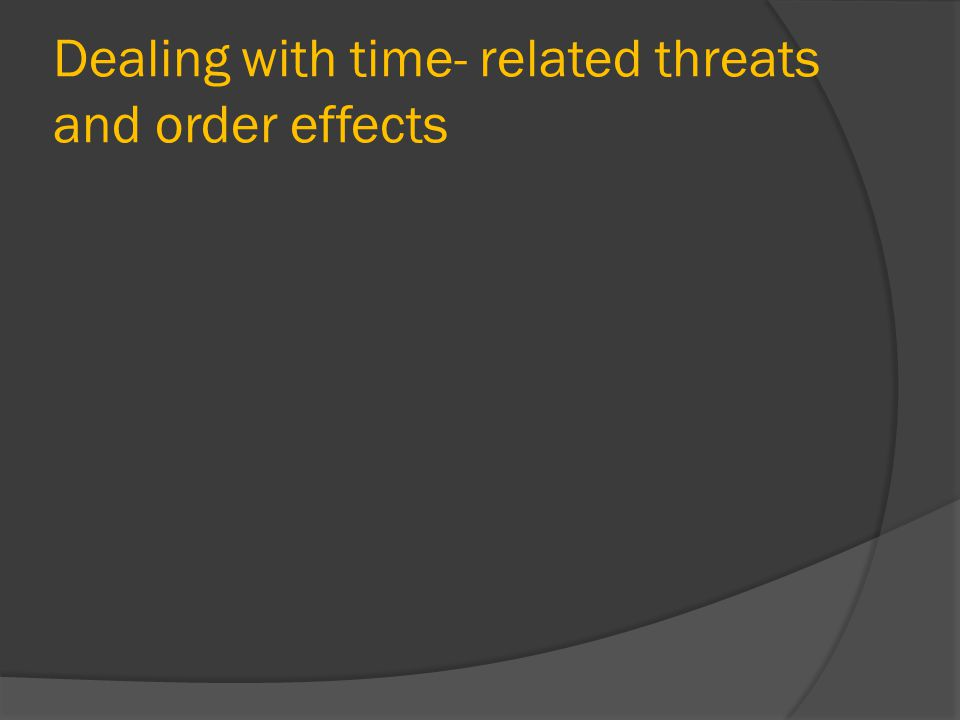 Dealing with time- related threats and order effects