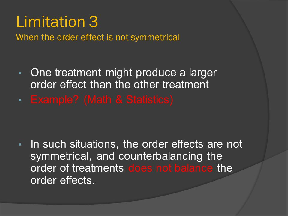 Limitation 3 When the order effect is not symmetrical