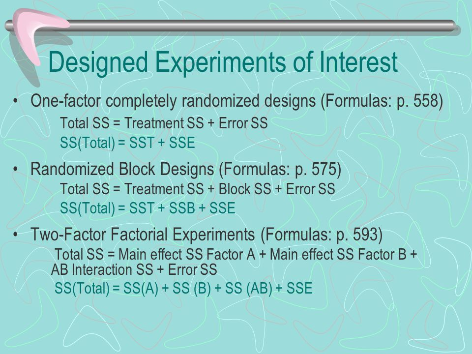 Designed Experiments of Interest