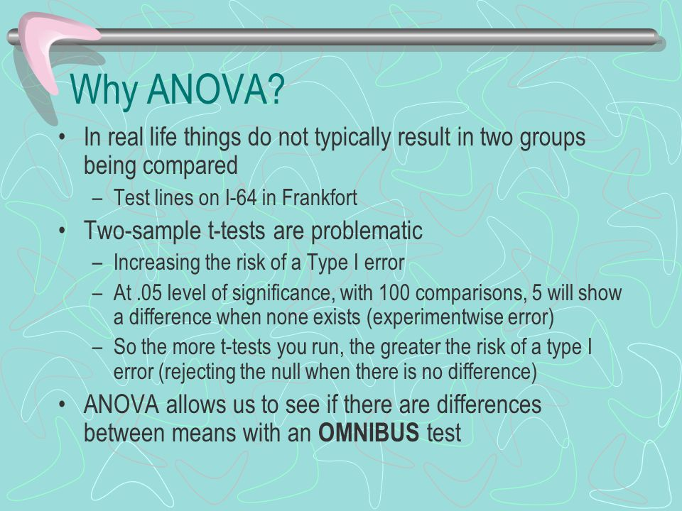 Why ANOVA In real life things do not typically result in two groups being compared. Test lines on I-64 in Frankfort.