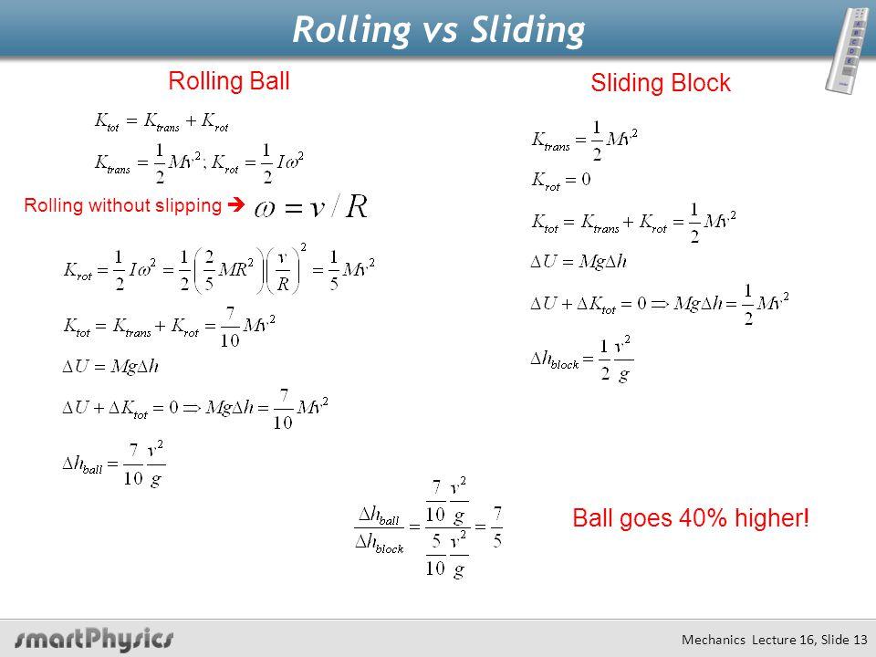 Rolling vs Sliding Rolling Ball Sliding Block Ball goes 40% higher!
