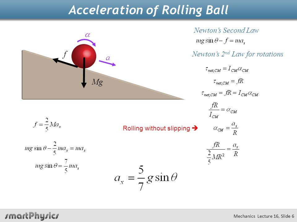 Acceleration of Rolling Ball