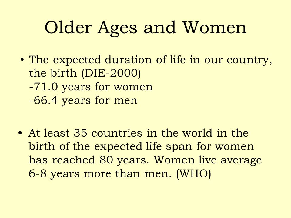 Older Ages and Women The expected duration of life in our country, the birth (DIE-2000) -71.0 years for women -66.4 years for men.