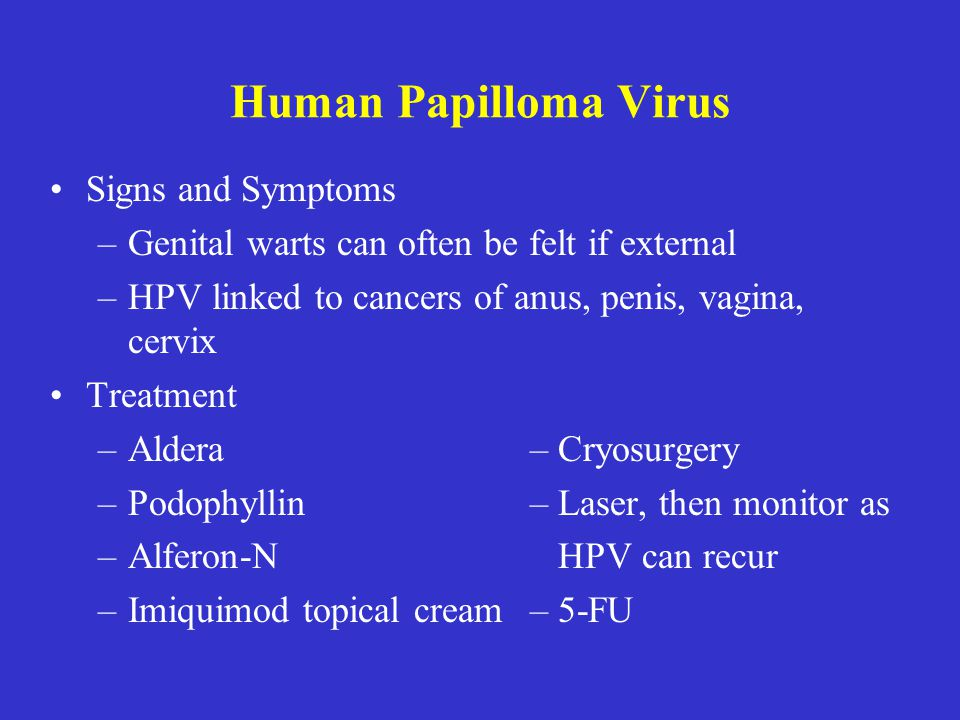 Human Papilloma Virus Signs and Symptoms