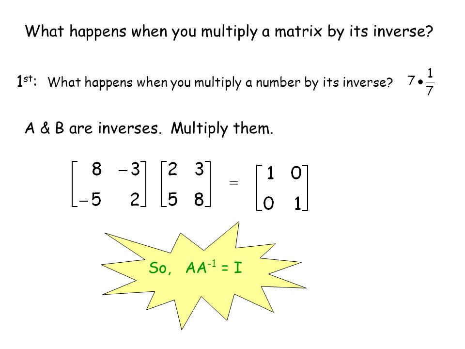 What happens when you multiply a matrix by its inverse