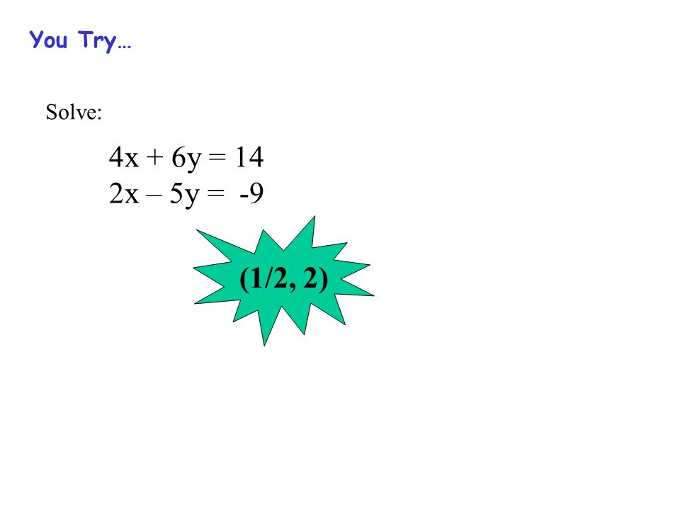 You Try… Solve: 4x + 6y = 14 2x – 5y = -9 (1/2, 2)