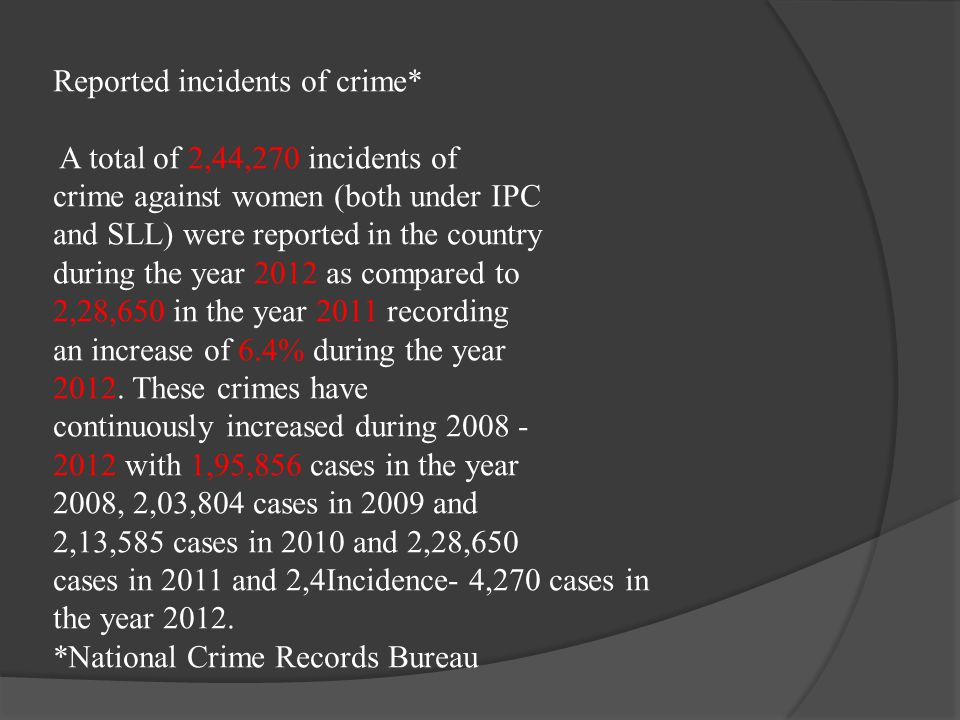 Reported incidents of crime