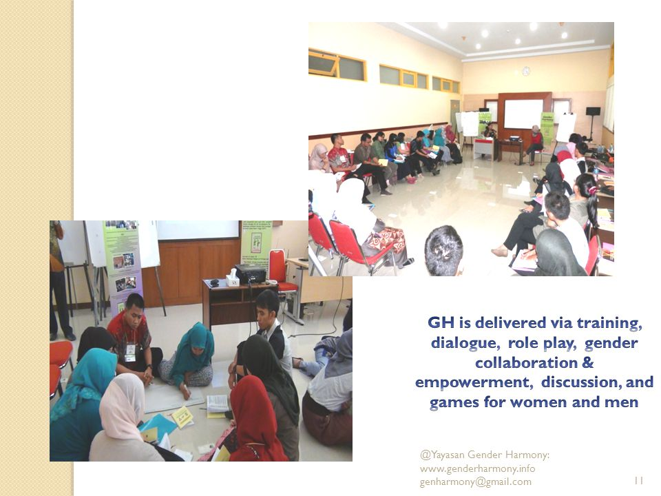 GH is delivered via training, dialogue, role play, gender collaboration & empowerment, discussion, and games for women and men